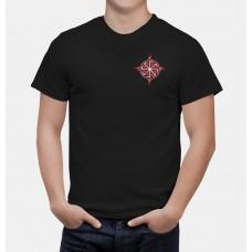 Nové Pánske tričko Kolovrat čierne- vyšívaný vzor