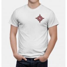 Nové Pánske tričko Kolovrat biele- vyšívaný vzor