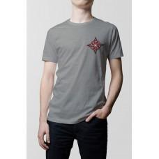 Nové Pánske tričko Kolovrat sive- vyšívaný vzor