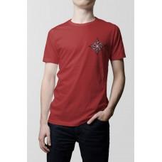 Nové Pánske tričko Kolovrat červené- vyšívaný vzor