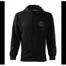 Čierna pánska mikina na zips s vyšívaným symbolom Posvätná geometria 369 VPRED