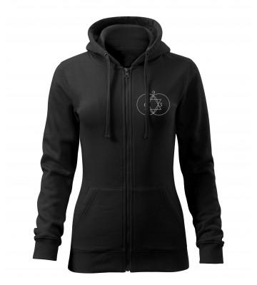 Čierna dámska mikina na zips s vyšívaným symbolom Posvätná geometria 369- VPRED
