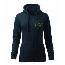 Tmavo modrá dámska mikina na zips s vyšívaným symbolom Posvätná geometria trojuholníky VPRED a tlačeným symbolom Merkaba + Kvet života VZAD