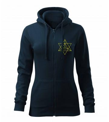 Tmavo modrá dámska mikina na zips s vyšívaným symbolom Posvätná geometria trojuholníky- VPRED