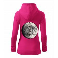 Purpurová dámska mikina na zips s tlačeným symbolom Merkaba mesiac- VZAD