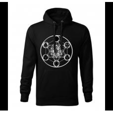 Čierna pánska mikina s tlačeným symbolom Posvätná geometria