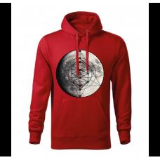 Červená pánska mikina s tlačeným symbolom Merkaba Mesiac