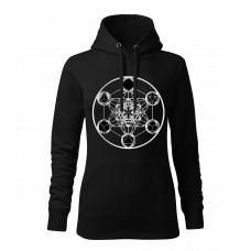 Čierna dámska mikina s tlačeným symbolom Posvätná geometria