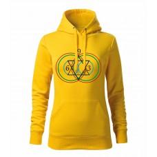 Žltá dámska mikina s tlačeným symbolom Vesica Piscis 369