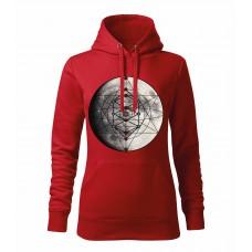 Červená dámska mikina s tlačeným symbolom Merkaba mesiac