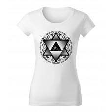 Biele dámske tričko s tlačeným symbolom Merkaba 369