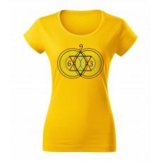 Žlté dámske tričko s tlačeným symbolom Vesica Piscis 369
