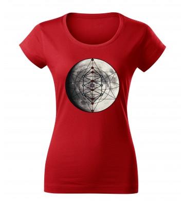 Červené dámske tričko s tlačeným symbolom Merkaba mesiac