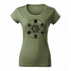 Khaki dámske tričko s tlačeným symbolom Posvätná geometria