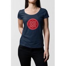 Tmavo modré dámske tričko s tlačeným symbolom Bohyňa Lada- červená farba