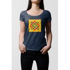 Tmavo modré dámske tričko s tlačeným symbolom Bohyňa Lada