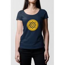 Tmavo modré dámske tričko s tlačeným symbolom Bohyňa Lada- žltá farba