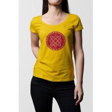 Žlté dámske tričko s tlačeným symbolom Bohyňa Lada- červená farba