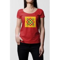 Červené dámske tričko s tlačeným symbolom Bohyňa Lada