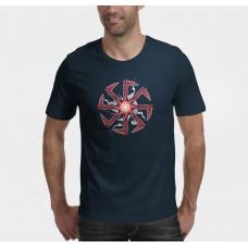Tmavo modré pánske tričko s tlačeným symbolom Kolovrat 2