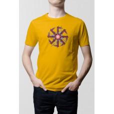Žlté pánske tričko s tlačeným symbolom Kolovrat 2