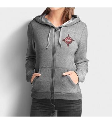 Sivá dámska mikina na zips s vyšívaným symbolom Kolovrat