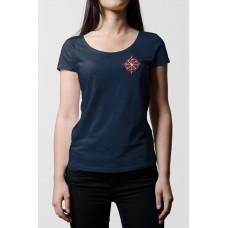 Tmavo modré dámske tričko s vyšívaným symbolom Kolovrat pri srdci