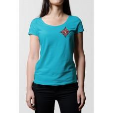 Tyrkysové dámske tričko s vyšívaným symbolom Kolovrat pri srdci