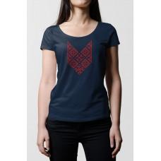 Tmavo modré dámske tričko s vyšívaným symbolom Bylina Odoleň
