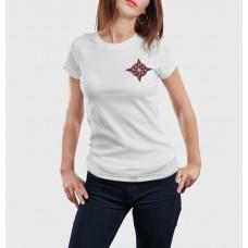 Biele dámske tričko s vyšívaným symbolom Kolovrat pri srdci