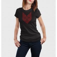 Čierne dámske tričko s vyšívaným symbolom Bylina Odoleň